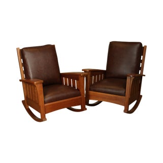 Stickley Mission Collection Large Pair Cherry & Leather Rockers For Sale
