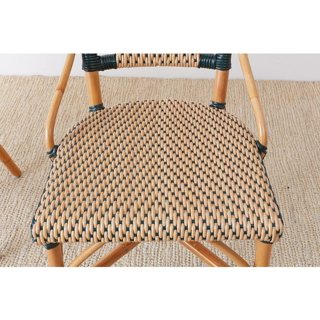 Pair of Palecek Bamboo Rattan Bistro Cafe Chairs For Sale In San Francisco - Image 6 of 13