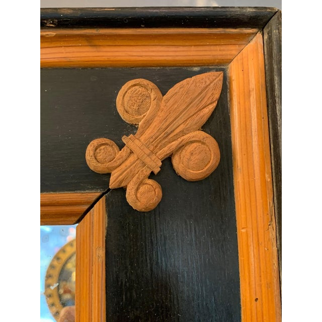 Carved Wood Art Nouveau Mirror With Fleur-DI-Lis For Sale - Image 11 of 13