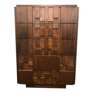 1970s Mid Century Modern Lane Staccato Brutalist Highboy For Sale