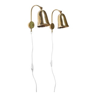 Pair of Adjustable Brass Wall Lamps by Borens, Sweden, 1960s For Sale
