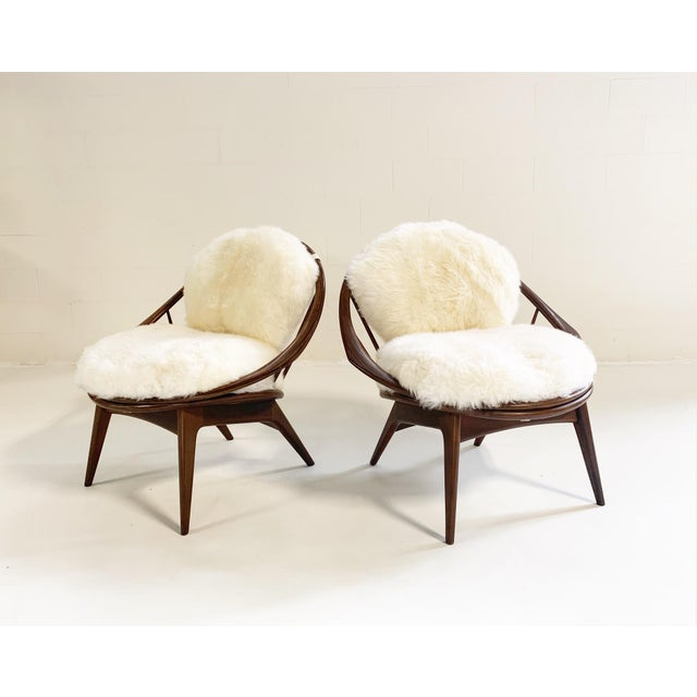 Wood Ib Kofod-Larsen Bentwood Lounge Chairs With Brazilian Sheepskin Cushions For Sale - Image 7 of 7