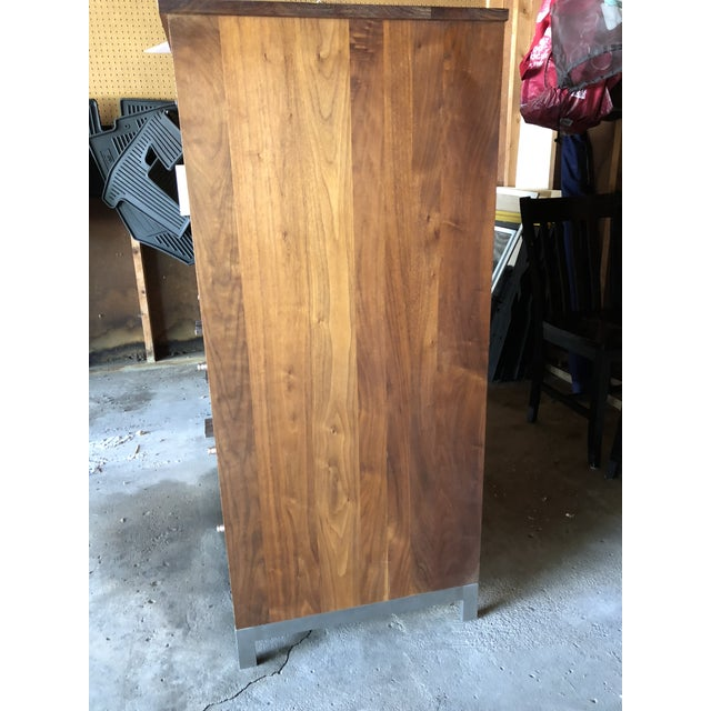 Room & Board Linear Walnut Office Armoire For Sale - Image 6 of 13