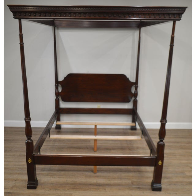 Brown Stickley Solid Mahogany Queen Size Carved Canopy Poster Bed For Sale - Image 8 of 13