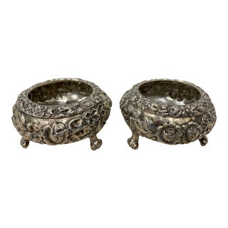 Pair of Late 19th Century Sterling Silver Open Salt Dishes For Sale