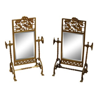 Aesthetic Movement Antique 1880's Victorian Brass Pair Cheval Beveled Vanity Mirrors For Sale