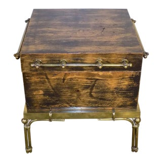 1990s Hart Associates Brass & Pine Campaign Style Trunk For Sale