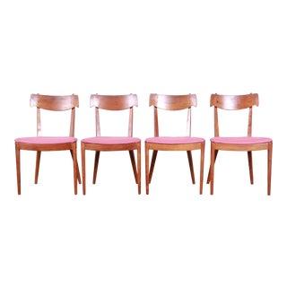 Kipp Stewart for Drexel Declaration Mid-Century Modern Sculpted Walnut Dining Chairs, Set of Four For Sale
