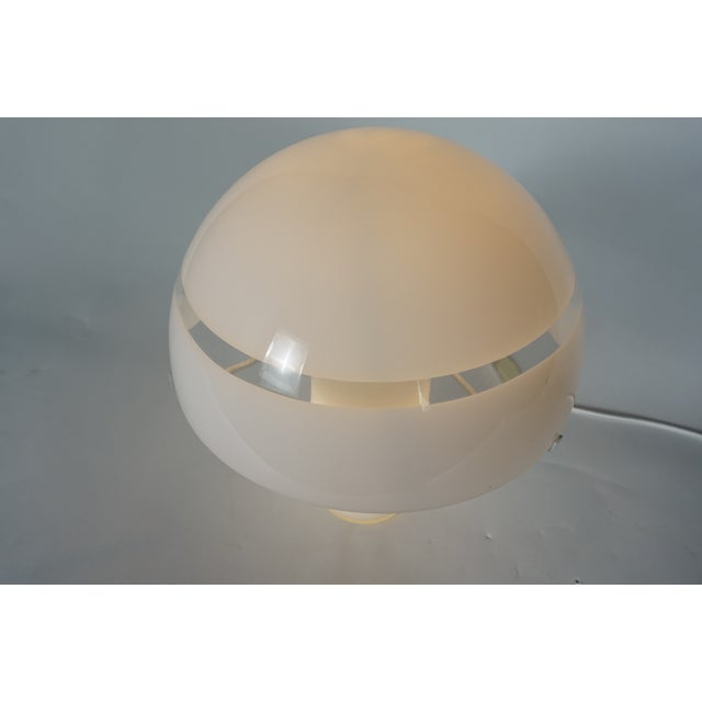 1960s Modern White Murano Glass Mushroom Lamp Illuminated From Within For Sale - Image 5 of 8