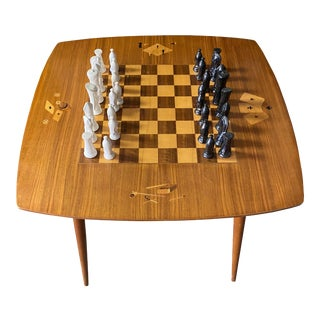 1950s Mid-Century Modern Inlaid Game Table For Sale