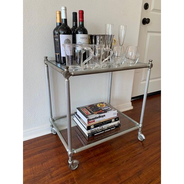 Mid-Century Modern Vintage Nickel Silver Metal Rolling Bar Cart For Sale - Image 3 of 11