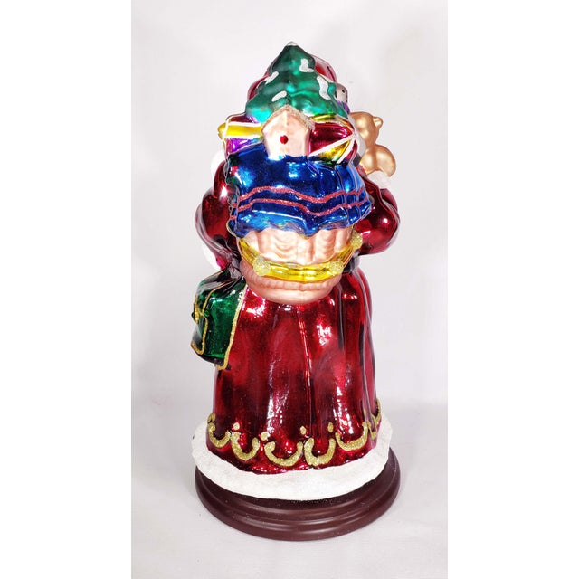 """Mid 20th Century Authentic Thomas Pacconi Classics 14"""" Glass Blown Handpainted Santa Claus For Sale - Image 4 of 7"""