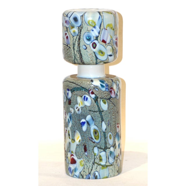 Metal Pino Signoretto 1980s Silver Green Blue Yellow Red Murano Glass Bottles - A Pair For Sale - Image 7 of 13