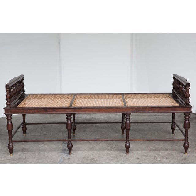 Antique Anglo-Indian Caned Daybed - Image 3 of 10