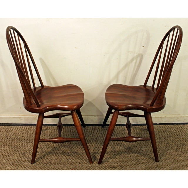 Duckloe Bros Cherry Hoop-Back Windsor Side Chairs - a Pair For Sale - Image 4 of 11