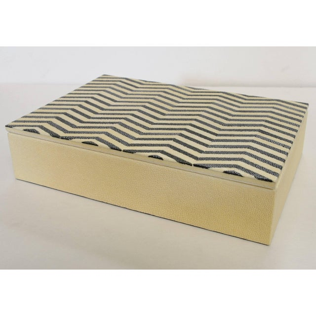 Ivory and black Shagreen box with zigzag pattern and gray suede interior Depth: 7 inches / Width: 10 inches / Height: 2.5...