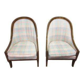 Plaid Upholstered Cube Accent Chairs - a Pair For Sale