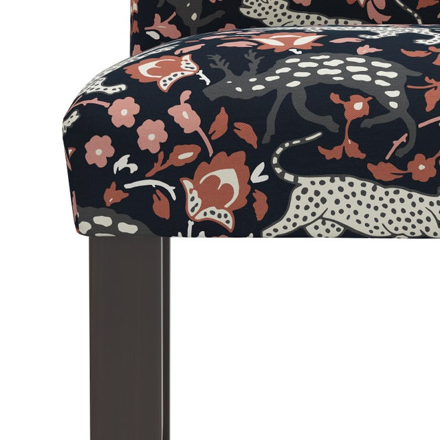 Not Yet Made - Made To Order Counter Stool in Leopard Coral Navy For Sale - Image 5 of 8