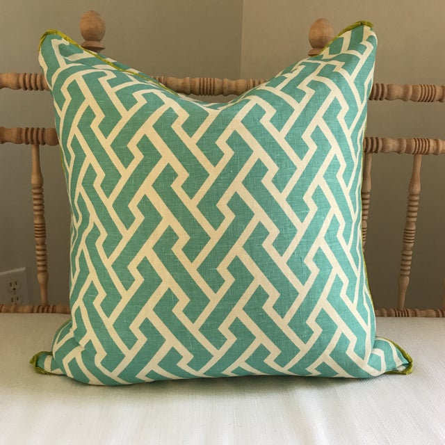 Chic, lively, and modern - a gorgeous aqua and lime custom-made linen pillow from HB Home in Westport, CT. Textile is...