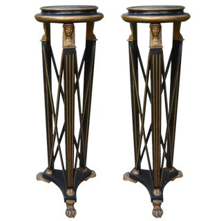 Italian Neoclassical Style Black and Gilt Wood Pedestals - a Pair For Sale