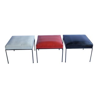 1950's Vintage Paul McCobb Wrought Iron Base Benches- Set of 3 For Sale