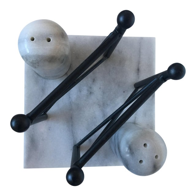 Carrera Marble Salt & Pepper Shakers with Napkin Stand - Image 1 of 6