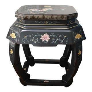 Vintage Chinese Chinoiserie Style Black Lacquer Drum Stool For Sale