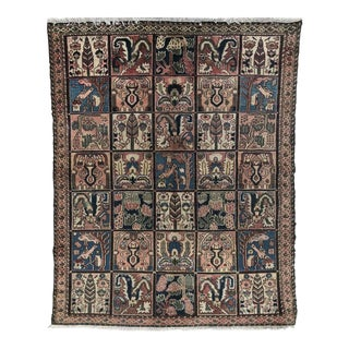 1930s Antique Persian Bakhtiari Wool Rug - 5′2″ × 6′8″