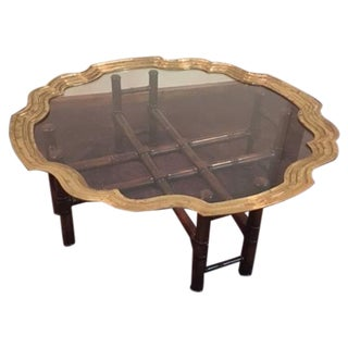 Vintage Baker Furniture Brass & Glass Coffee Table For Sale