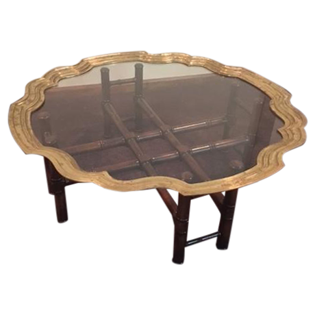 Vintage Baker Furniture Brass U0026 Glass Coffee Table For Sale