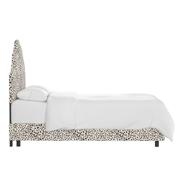 Transitional Queen Bed, Washed Cheetah Cream Grey For Sale - Image 3 of 6