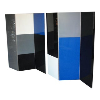 Six-Panel Mondrian Style Room Divider For Sale