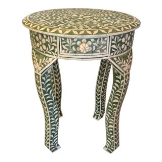 Indian Green and White Bone Inlay Hand - Made Side Table For Sale