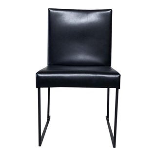 Modern Black Leather Solo Dining Chair For Sale