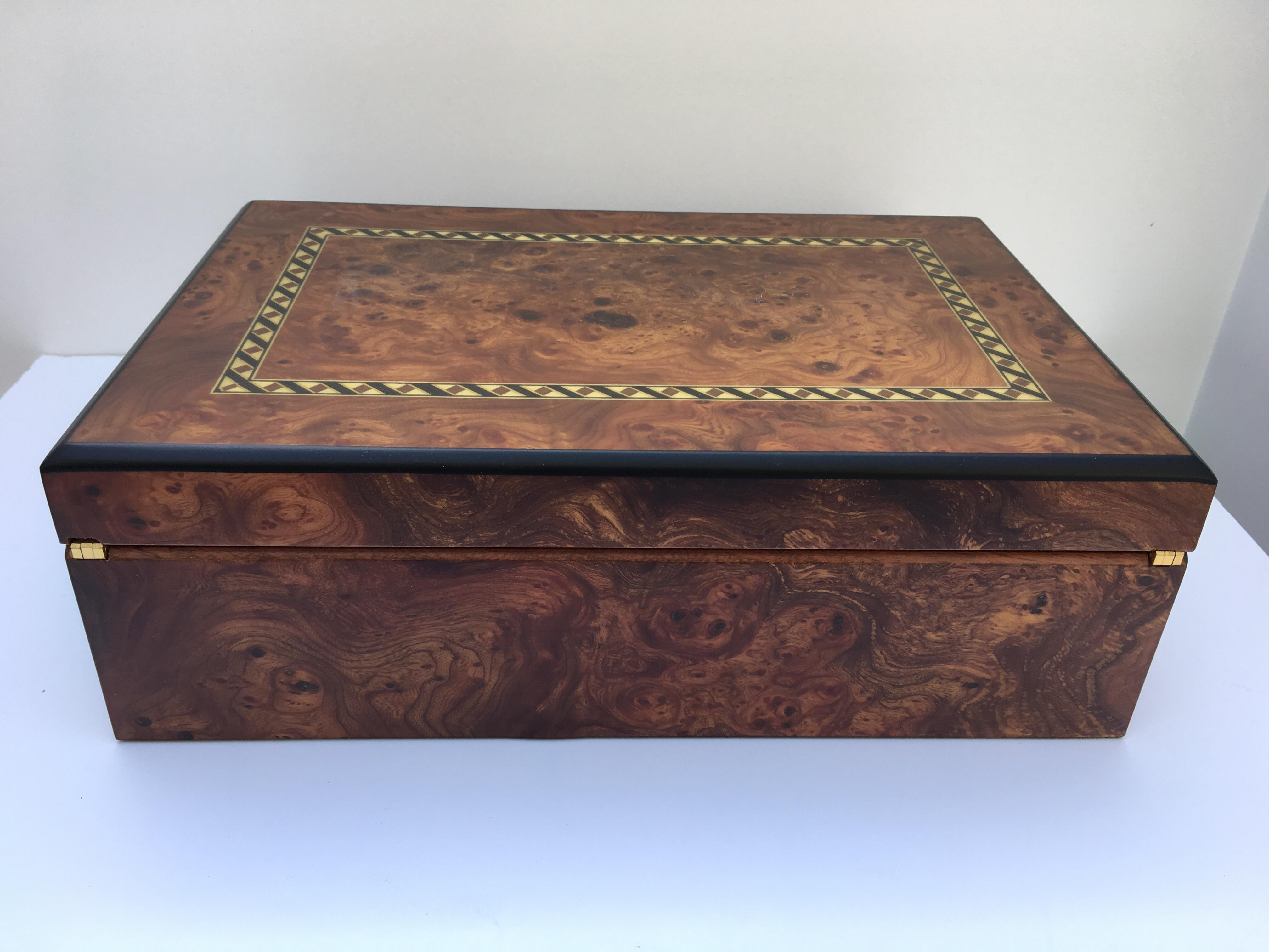Italian Burl Wood Jewelry Box Chairish
