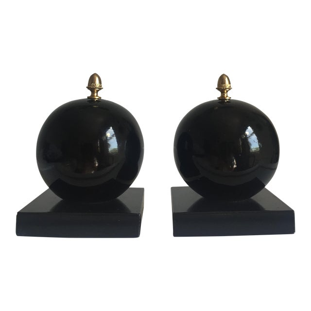 Vintage Alabaster Sphere Bookends - a Pair For Sale
