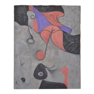 """Surreal Landscape Oil Painting """"Homage to Miro"""" C.1940s For Sale"""