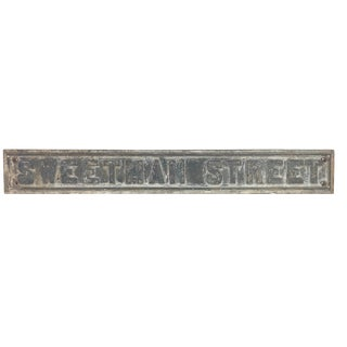 "Antique Cast Iron Street Sign - ""Sweetman Street"" For Sale"