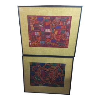 Panama Textile Art Ethnographic Mola a Pair Kuna For Sale
