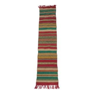 "Swedish Handmade Rag Rug - 10.5""x 49"" For Sale"
