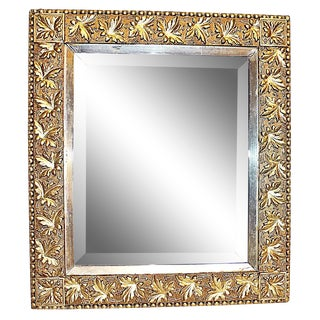 Antique American Gilt & Silver Leaf Vine Motif Mirror For Sale