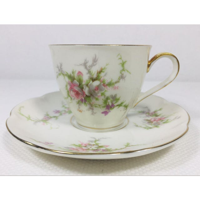 This is a set of 7 very sweet vintage flat demitasse cups and 7 saucers of the Rosalinde pattern. Each is marked made in...