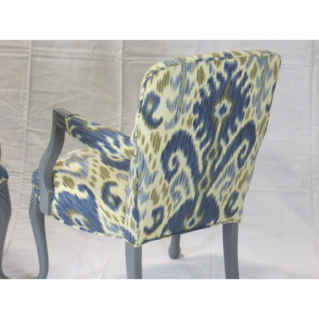Gray Lacquered Cabriole Leg Chairs Reupholstered in Kravet - A Pair For Sale - Image 4 of 11