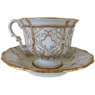 Early 20th Century American Meissen Porcelain Heavy Gold Trim Embossed Cup and Saucer For Sale