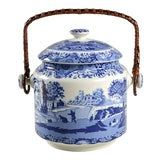 Image of Spode Blue Italian 200 Anniversary Biscuit Barrel & Lid For Sale