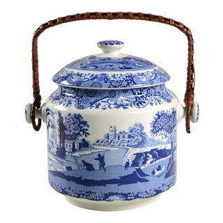 Spode Blue Italian 200 Anniversary Biscuit Barrel & Lid For Sale