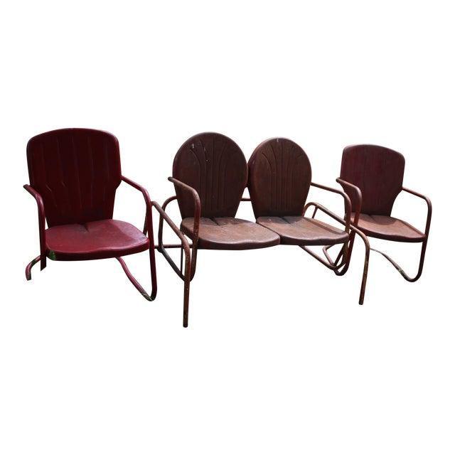 Vintage Metal Patio Glider & Two Chairs - Set of 3 For Sale