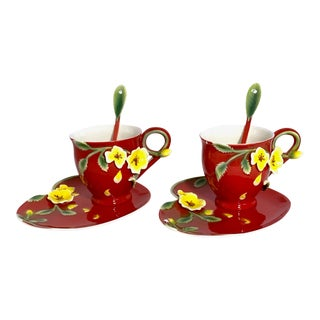 Red Sculpted Porcelain Tea Cups & Saucers with Spoons - A Pair For Sale