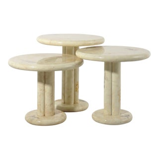 1970's Round Lacquered Faux Marble Nesting Tables For Sale
