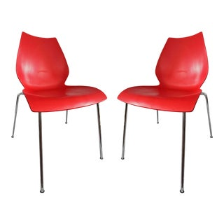 Vintage Red and Chrome Maui Chairs by Kartell - a Pair For Sale